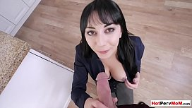 Hot busty MILF stepmother loves stepsons morning wood