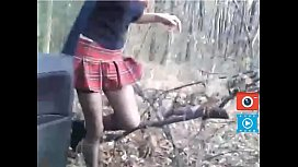 strip in mini skirt school girl and stockings in the forest outside