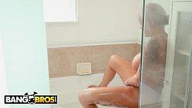 BANGBROS - Logan Long Finds His BFF'_s Busty Mom Nina Elle Masturbating In The Bathroom
