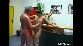Excited young sweetheart gives an old dude nice blowjob and fucks