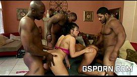 Sandra Romanie and Rikki White fucking with three black cocks
