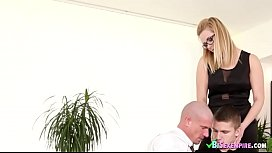 Blonde lady fucks hard with bisexual dudes