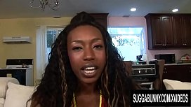 Skinny Ebony Royce Rae Plays with Her Pussy till BBC Comes and Destroys It