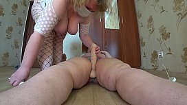 Mature milf jumping on a girlfriend and a on big dildo. Lesbian with big tits and fat ass.
