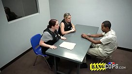 Two horny MILFs are interrogating a black criminal with their big white butts!