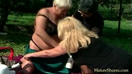 Fat Milf plays threesome style