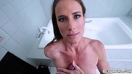 Sofie Marie came home late and drunk,she feels horny and suddenly dragged her stepson in the bathroom and started a hot sex with him.