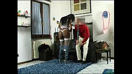 Interracial sex for amateur fucker and a hot black transsexual