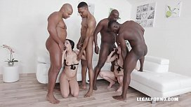 Interracial fucking orgy leaves Luna Rival & Sophia Laure's butts destroyed