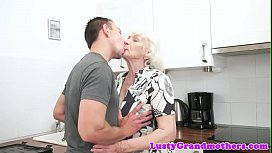 Hairy granny sucks dick after getting banged
