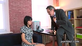 Sensual college girl gets tempted and pounded by her older tutor