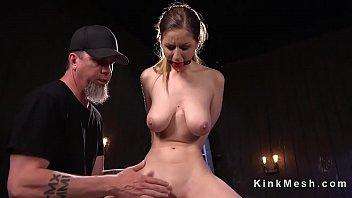 Natural busty slave rides Sybian
