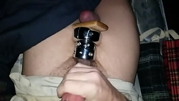 Slow motion stretched balls cumshot