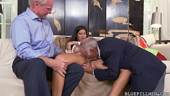 Old guys acquire sucked off by Latina Teen