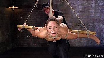 Hogtied with spreaded legs babe toyed