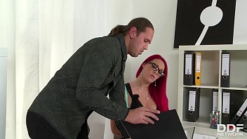 Curvy Office Manager Paige Delight Sucks And Fucks Muscle Guy's Hard Cock