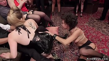 Busty mistress makes spinner orgy fuck