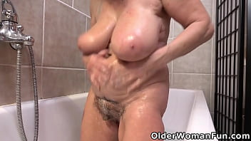 Over 60 grandma Renata dildos her hairy old cunt 12 min