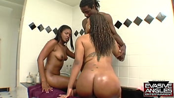 EVASIVE ANGLES This black man has always wanted to have a threesome with two ladies, so he follows them hoe to Sinnamon's house from the park where they met, and soon, Anna has a cum mustache!