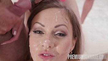 Premium Bukkake - Tina Kay swallows 68 big loads and got DP fucked in the ass thumbnail