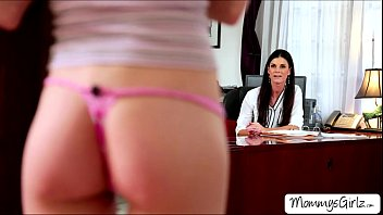 Skanky Hannah tempts her mom India  into a lesbian fun