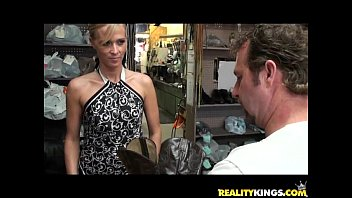 Milf hunter cigar store Jessica gets her courgar twat treated by the milf hunters cock