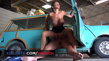 Intense sex in a garage with a busty cougar
