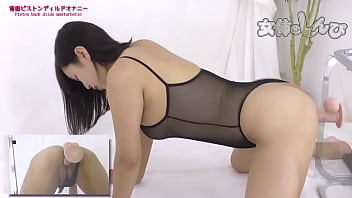 hot japanese babe banging a mounted dildo