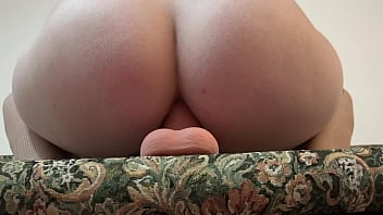 Anal masturbation with a big rubber dick Brunette with a plump belly fucks her nice ass and fingers her hairy pussy Homemade fetish