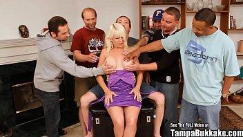 MILF Fake Tit Blonde Bukkake Bang 5 min