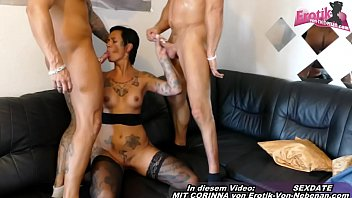 German amateur tattoo milf in a private threesome with 2 friends