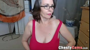 Old woman shows her big shaggy tits