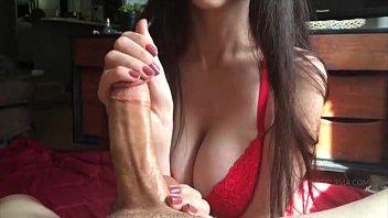 Big Tit Girl Giving An Awesome Edging Handjob - Guy Cums Twice