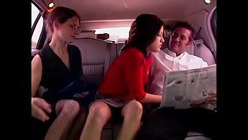 American car vintage - Schoolgirl picked up by rich man in limousine and fucked in a hot threesome with his secretary