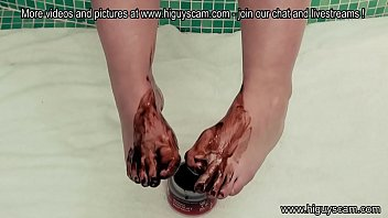 Tiny chocolate feet massage foot fetish liquid