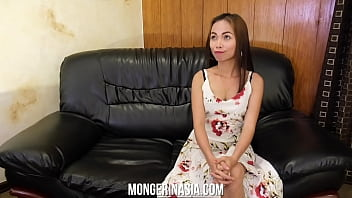 Shy Asian maid is ready to please her boss