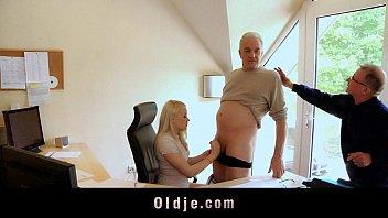 Old bussines man fucking hot blonde secretary 5 min
