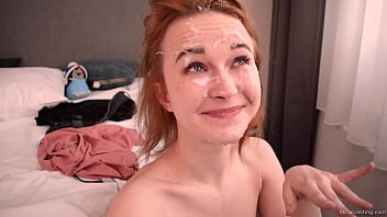 Massive load on tiny Sweetie Plum in facialcasting by Erik Wil