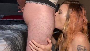 Cum shot to the face after a deepthroat amazing head
