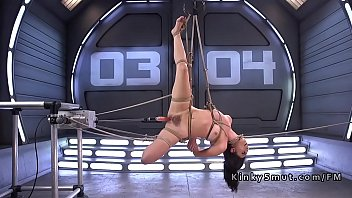 Penetration machines Tied up babe anal punished by fucking machine
