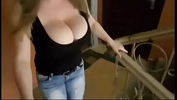 Teen bewbs - Bouncing boobs of a girl going down on stairs