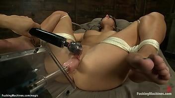 Tied blindfolded babe machine banged
