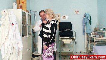 Blond milf wears glasses and get milky enema 5 min
