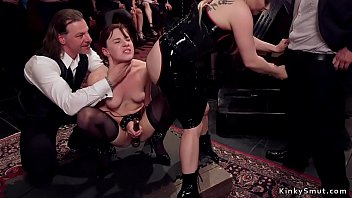 Mistress fucks slave in bdsm orgy party