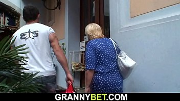 He helps blonde old grandma