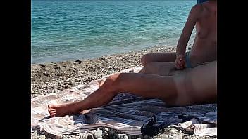 Public beach cumshot compilation - Amateur MissCreamy