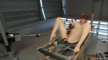 Redhead fuck pussy and anal machine