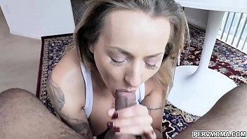 Tatted MILF Natasha Starr sucks stepsons dick at the breakfast table