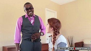 Spanish babe fucks homeowners black dick