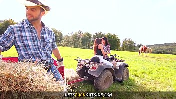 Let's Fuck Outside - Cowgirls gets Fucked by Cowboy in Outdoor Threesome 13 min